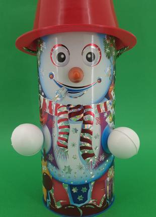 Упаковка новогодняя для сладостей тубус для конфет средний, Сн...