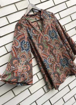 Блузка с широкими рукавами в этно бохо стиле,принт огурцы, zara