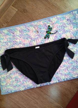 Чёрные классические плавки низ купальника с завязочками