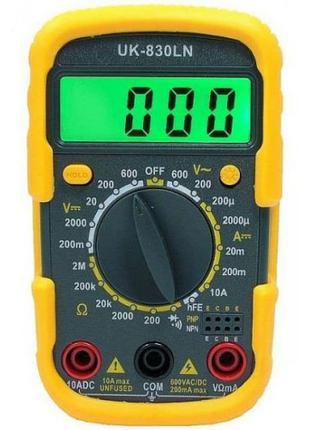 Мультиметр цифровой UK-830LN, щупы, тестер