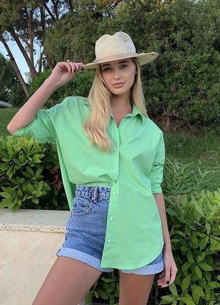 Салатова рубашка Zara, зеленая рубашка Zara