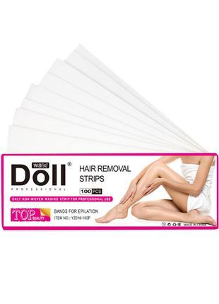 Полоски для депиляции Doll Wax 100 шт восковые шугаринг