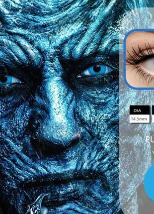 Цветные линзы для глаз, однотонные, голубые + контейнер для ли...