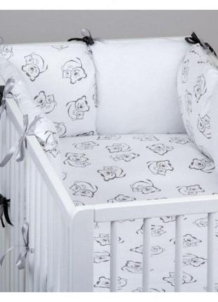 Комплект в детскую кроватку для новорожденных Хатка 9 в 1 Мишк...