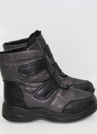 Женские зимние блестящие ботинки на липучках