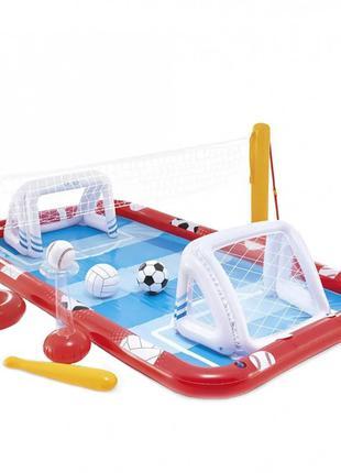 Детский надувной игровой центр 57147 с воротами и мячем, 470л