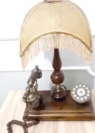 Светильник с телефоном антиквариат раритет из дерева и бронзы