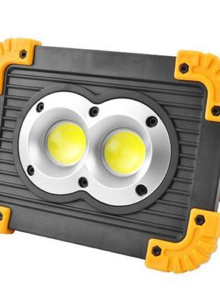 Прожектор светодиодный L802-20W-2COB+1W, ЗУ micro USB, 2x18650...