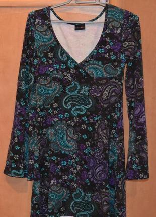 Трикотажное платье с длинным рукавом размер s