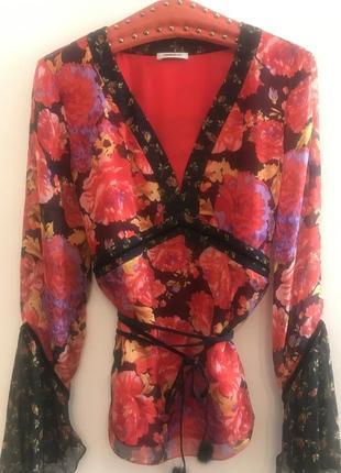 Шелковая блузка в цветочный принт ambiente.