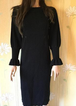 Платье миди трикотажное в рубчик лапша размер m/l