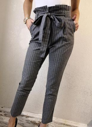 Брюки женские, брюки высокая посадка, брюки с бантом