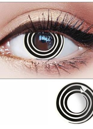 Линзы для глаз спираль, белые гипнотические + контейнер для ли...