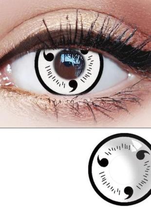 Линзы для глаз, белые с черными крючками + контейнер для линз ...