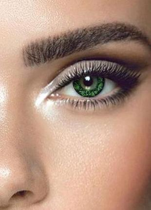 Цветные линзы для глаз кристал, зеленые + контейнер для линз в...