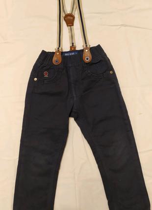 Теплые джинсовые штанишки для мальчика 2-3 года