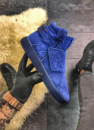 Стильные мужские кроссовки adidas tubular invader triple blue,...