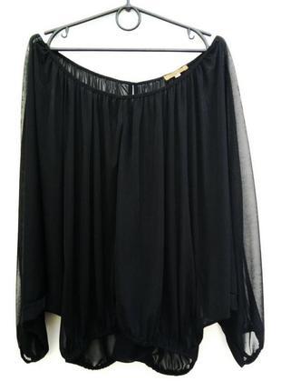 Черная шифоновая блуза с рукавами летучая мышь tu
