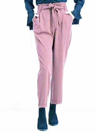 Брюки пудровые розовые высокая посадка брюки цвета пудра amisu