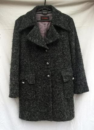 Тёплое шерстяное пальто прямого кроя меланж пальто бойфренд da...
