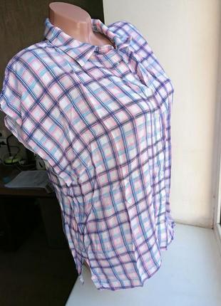 Рубашка в клетку летняя без рукавов натуральная вискоза doroth...
