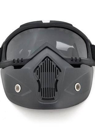 Захисна маска для гри в пейнтбол, чорний пластик