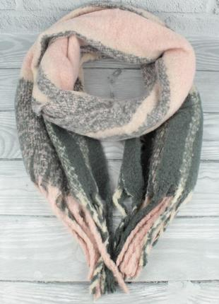 Объемный, мягкий шарф-плед, палантин butef 7780-8 розово-серый...