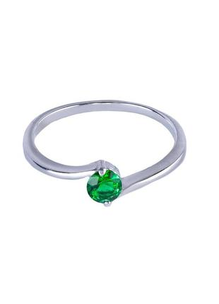Кольцо из серебра с покрытием из родия «акцент» с фианитом цве...