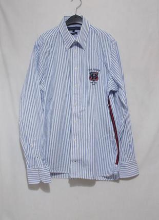 Рубашка белая в голубую полоску 'tommy hilfiger' 48-50р