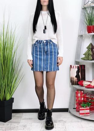 Джинсовая юбка высокая посадка stradivarius в винтажном стиле ...