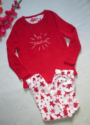Суперовая плюшевая теплая новогодняя пижама домашний костюм в ...