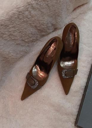 Туфли натуральная замша, цвет хаки, горчичный