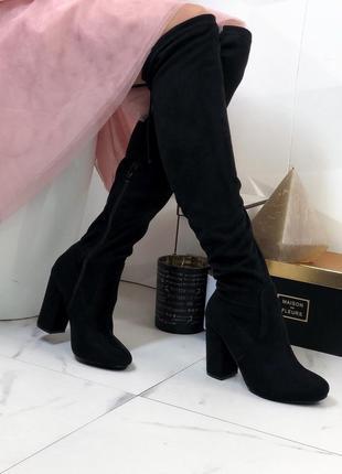 Ботфорты чулки замшевые на каблуке