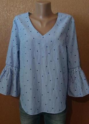 Блузка в полоску звёзды-принт рукав волан размер 10 george