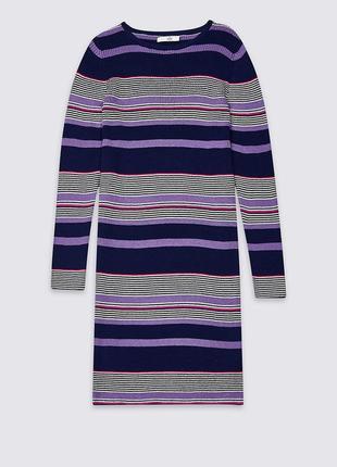 Платье-свитер в разноцветную полоску marks&spencer фиолетовое ...