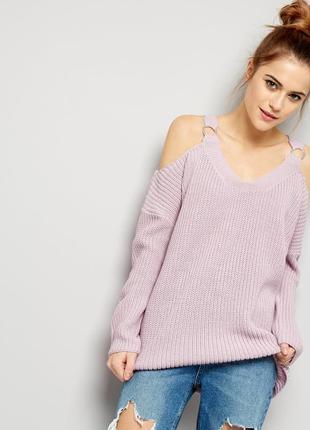 Свитер лилово-розового цвета с открытыми плечами new look сире...