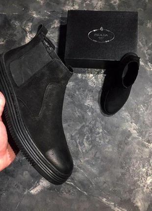 Lux качество! идеальные зимние мужские ботинки prada челси