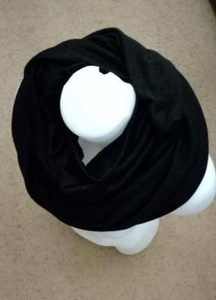 Шарф хомут восьмерка объемный чёрный классический лаконичный