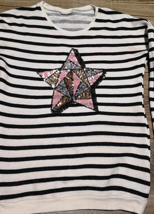 Свитер кофта девочка паетка звезда