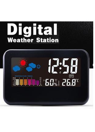 Метеостанция Loskii DC-002 с цветным экраном термометр гигрометр