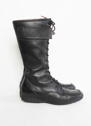 Черные кожаные осенние сапоги geox
