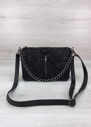 Женская сумочка кросс-боди черного цвета со вставкой черный блеск