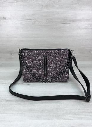 Женская сумочка кросс-боди черного цвета со вставкой блеск