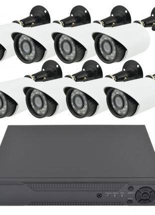 Комплект видеонаблюдения проводной набор на 8 камеры и регистр...