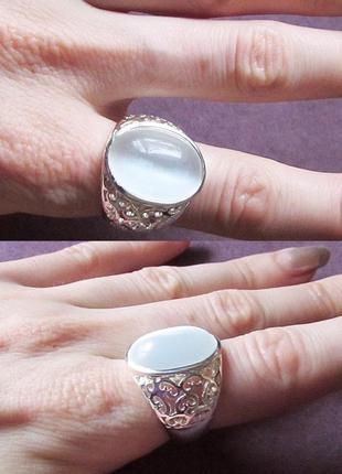🏵шикарное кольцо с камнем кошачий глаз в серебре, 17,5-18 р., ...