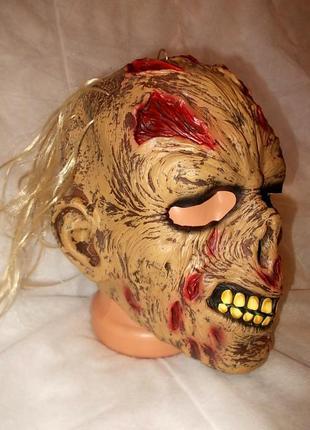 Латексная резиновая маска зомби с волосами на хэллоуин