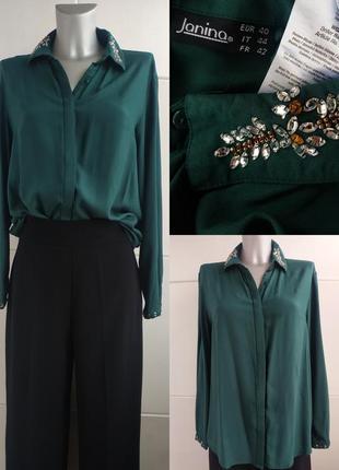 Стильная рубашка janina свободного кроя с декором на воротнике