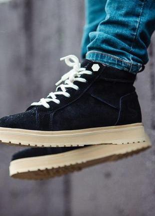 Стильные натуральные зимние ботинки мужские на меху