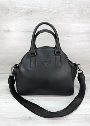 Удобная женская сумка на три отделения черная