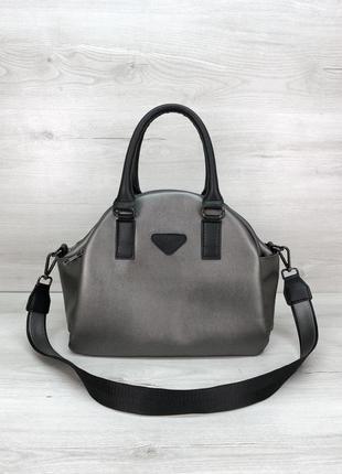 Удобная женская сумка на три отделения серебристая